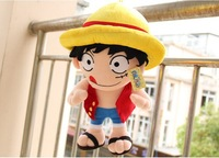 """16"""" anime figure one piece doll stuffed luffy plush soft toy doll for baby boy birthday gift children's day free shipping"""