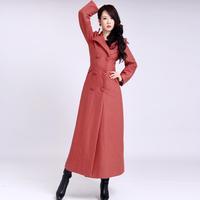 2014 Winter winter coat women long woolen trench coat for women solid color turn-down collar overcoat