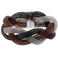 Elegant Lady Stainless Steel Twisted Grid Cuff Bangle Bracelet women fashion Gift
