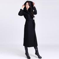 2014 Winter long design woolen trench coat women's winter solid color hooded overcoat women coat