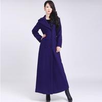 2014 Winter overcoat women's long design woolen trench coat plus size women's casual solid color turn-down collar