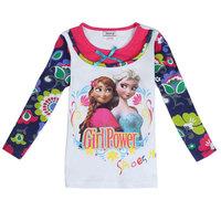 Free Shipping 2014 New Baby Girls Frozen T-shirts Kids Sister Princess t-shirt Baby frozen Printed tshirt NOVA Cartoon Clothing
