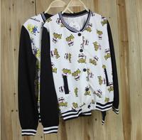 2014 New Korean version autumn coat thin section baseball uniform Pringles Xiao Huang printed sweater women baseball jacket coat