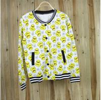 2014 New Autumn Korean cute little duck covered college baseball uniform baseball hit the color casual short jacket women hoodie