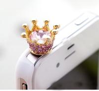 Fashion Phone Jewelry Brief Crystal Crown Dustproof Plug Mobile Phone Dust Plug SP076