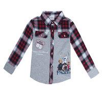 Free Shipping 2014 New Design Baby Boys Frozen Shirts 100% Cotton Kids Gentleman shirt Plaid Baby Cartoon frozen Clothing
