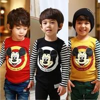 Free Shipping 2014 New Arrival Cartoon Clothing Baby Boys Mickey T-shirt 100% Cotton Baby Striped tshirts Kids Printed t-shirts