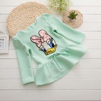 New 2014 Girls' Dresses Long Sleeve Donald Duck Bling Bling Children One-piece Dress Fashion Kids Fall Outerwear Child Cute Wear