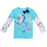 Free Shipping 2014 New Arrival Baby Girls Frozen T-shirt Kids Elsa Princess t-shirts Baby Printed tshirt Cartoon frozen Clothing