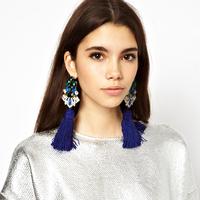 Ethnic Style Tassel Earrings Blue Crystal Stone Flowers Stud Earrings Bohemia Brand Design Statement Jewelry For Women Earrings