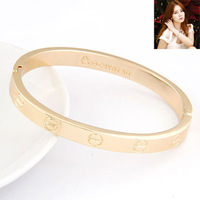 Min.Order $8.8(Mix Order) 2014 Korea Women Fashion Jewelry Bangles Gold Forever Love Lady Bracelet FB0014