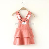 New 2014 Girls' Dresses Sleeveless Cute Bear Baby Girls Strap Dress Wear Children One-piece Dress Kids Outerwear