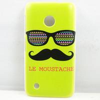 for nokia lumi 530,new cute green Moustache Colorful Glasses HARD BACK CASE COVER SKIN FOR NOKIA LUMIA 530