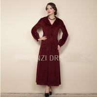 2014 Women trench coat slim Wine red turn-down collar plus size long overcoat wool trench winter coat