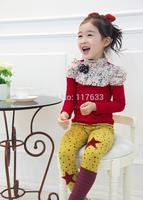 Dear Baby Brand Kid Brand 2014 New Cartoon Baby/Children Girl T Shirt Roupa Infantil Long Sleeve Bowknot Clothing Wear Top 2~7T