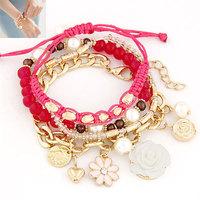 Min.Order $8.8(Mix Order) Wholesale 2014 New Fashion Rose Multilayer Bracelet Multielement Bracelet Bangles FB0015