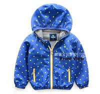Suggest Kids height 90~130cm Retail 1pcs boys coats kids jackets baby outerwear autumn Long sleeve dots children clothes
