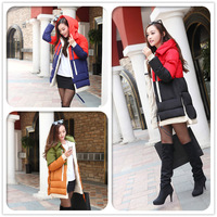 2014 New Brand Women winter coat Fashion Long style Women three row of zipper contract color Hooded down jacket Lady Down Coat
