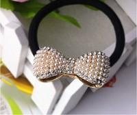 Korean jewelry wholesale pearl square mahogany hair rope bowknot hair bands headdress flower