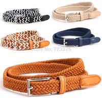 2014 South Korea New fashion Lady High elastic Canvas woven A narrow trouser belt women High quality Canvas belt pin buckle belt