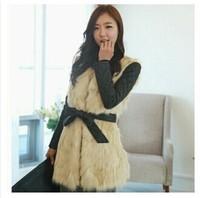 New High Quality Imitation of fox collars Spliced leather winter fur coat coat women winter jacket women
