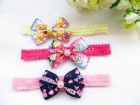 "mix colors Mickey Princess 8cm 3.5"" bow Baby children Hairbands Girls ribbon Elastic Hair Bands  Headband"
