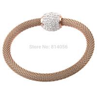 Elegant retro fashion diamond rose gold titanium steel bracelet female To send his girlfriend a birthday gift