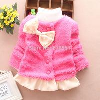 T1118 New 2014 Baby Kids Warm Button Cardigan, Infant Girl Autumn Winter Sweet & Elegant Dress Jackets, Child Outerwear  F2