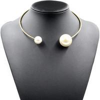 Wholesale fashion trendy jewelry metal chain choker big pearls necklace & pendant statement necklace 2014 women