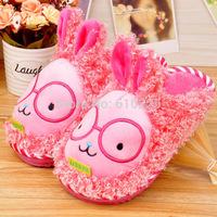 New 2014 Children Slippers Cute Rabbit Babies Winter Slippers Big Ears Child Warm Shoes Kids Footwear