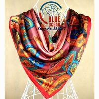 2014 New Arrival Female Silk Scarf,Fashion Accessories Satin Big Square Women Scarf Printed,New Design Cashew Silk Shawl 90*90cm