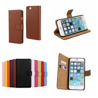 Genuine Leather Wallet Stand Case for iphone 6 4.7 inch case Phone Bag with Card Holder Flip Style free shipping+Protective film