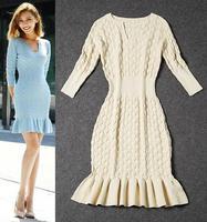 Best Quality!New Hot Fashion 2014 Autumn Winter Runway Designer Women Wool Knitted Sweater Dress Slim Trumpet Mermaid Knitwear