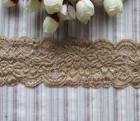 Wholesale lot   dark  Beige  Elastic Stretch Lace trim  DIY craft  sewing curtain  6cm