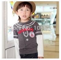 #4163 spring autumn kids garment children clothing boys/girls cotton o-neck long sleeve cartoon cute t-shirts