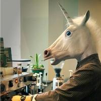horse mask Latex mask riding a unicorn mask party mask Horsehead