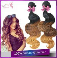 6A Brazilian Virgin Hair Body Wave 3PCS Ombre Hair Extension three tone 1b/4/27 Human Hair Extension Weaves No Shedding / Tangle