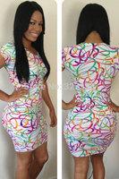 2014 New Arrival Women Fashion Dress Dynamic Colorful Circles Print Mini Dress Bodycon Dress On Sale