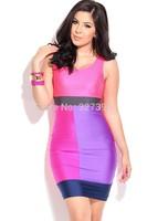 2014 New Arrival Women Fashion Dress Rosy Neon Color Block Sexy Mini Dress Pencil Dress On Sale One-piece Badycon Midi Dresses