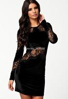 Black Velvet Lace Long Sleeves Vintage Dress women dresses 2014 new fashion Lace Dress Summer Midi Dress
