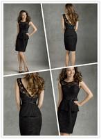 Brilliant Two Piece Sheer Illusion Scalloped Neckline Fitted Sheath Short Mini Black Lace Tight Bridesmaid Dress With Tie Sash