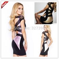 Golden Back Crossing Mesh Mini Dress 2014 New Arrival Fashion Women Clothes Vestidos Celebrity Dresses