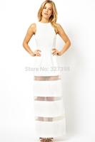 White Graceful Mesh Stitching Floor-length Maxi Dress elegant dear lover plus size women clothing Black Orange