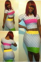Colorful Two-piece Dot Print Bandage Skirt Set elegant dear lover Fashion women clothing 2014 New Arrival