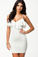 Black And White Decolletage Frilled Neck Mini Dress On Sale New Arrival 2014 Women Sling One-piece Dress For Ladies Celebrity
