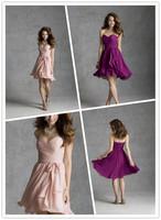 Breathtaking High Low Knee length Sweetheart Neckline Blush Mulberry Chiffon Bridesmaid Dress With Tie Sash