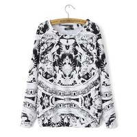 2014 New Autumn Women Casual Figure Prints O-Neck Sweatshirts Long Sleeves Ladies Fashion Tops 2012200904