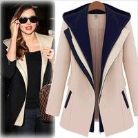 4XL Plus Size Blazer Woman Coats Winter Jackets Women Coat Slim Faux Two Piece With A Hood Casual Patchwork Women Outerwear
