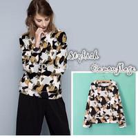 New 2014 fall lady elegant camouflage pattern print loose pullovers tops female elegant long sleeve o neck sweatshirts