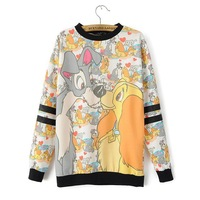 2014 New Autumn Women Casual Character Dog Prints O-Neck Sweatshirts Long Sleeves Ladies Fashion Tops 2011200904
